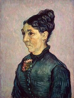 "Portrait of Madame Trabuc 1889. Jeanne Lafuye Trabuc, the wife of the head warden of the Saint-Paul-de-Mausole hospital at Saint-Rémy. Van Gogh selected for this bust portrait a rather standard composition. This is what he said about this painting in a letter to his sister: ""The withered face is tired, pock-marked - a sunburnt, olive-coloured complexion, black hair. A faded black dress relieved by a geranium of a delicate pink, and the background in a neutral tone, between pink and green."""