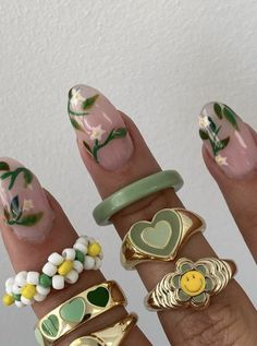 Nail Jewelry, Trendy Jewelry, Cute Jewelry, Jewlery, Chunky Jewelry, Cute Acrylic Nails, Cute Nails, Pretty Nails, Nail Ring