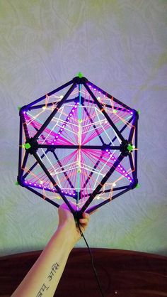 LED Fluorescent decorative Icosahedron lighting art object for psychedelic/night events and parties, multidimensional Sacred Geometry decor Art Cube, Sacred Geometry Tattoo, Led Fluorescent, Tape Art, Flower Mandala, Flower Of Life, Dream Decor, Art Object, String Art