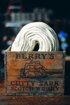 Cutty Sark scotch whisky crate and rope Nautical Rope, Nautical Theme, Nautical Design, Nautical Style, Wood Crates, Wood Boxes, Cool Diy, Sea Captain, Style Deco