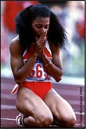 Flo Jo - double gold medalist 100m & 200m at 1988 Seoul Olympics.  She died in 1998 aged only 38