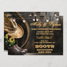 Country Boots Hat & Barn Wood Wedding Invitations Western Wedding Invitations, Wedding Invitation Wording, Invitation Cards, Country Boots, Wedding In The Woods, Activity Games, Baby Shower Games, Barn Wood, Art For Kids