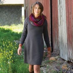 Wearwithall Ponte Knit Dress, in port heather, sz large - Duluth Trading