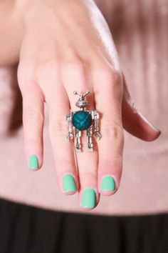 Silver Teal Antiqued Metal Marble Stone Robot Ring