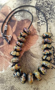Necklace Handmade Lampwork Beads leather Cord and by Petiber
