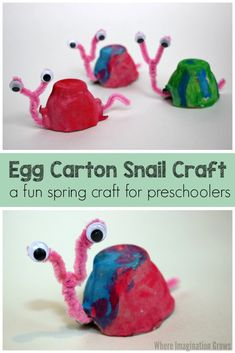 Egg Carton Snail Craft for kids! A simple spring craft for preschoolers! Great c… Egg Carton Snail Craft for kids! A simple spring craft for preschoolers! Great craft for gardening, bugs, and spring preschool themes Pin: 735 x 1102 Easy Preschool Crafts, Daycare Crafts, Toddler Crafts, Preschool Themes, Spring Craft Preschool, Craft Activities, Children Crafts, Preschool Classroom, Winter Activities
