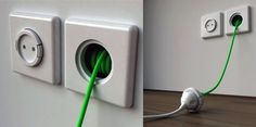 """This 1.5 meter cord unfurls from a cavity behind its socket. When you don't need extensions, it's neatly tucked away. When you need it, simply pinch the sides and wind it out.""""What happens when it gets tangled up in the wall,"""" you ask?Umm...good luck with that!"""