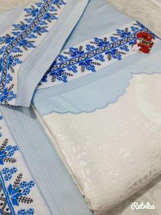 Mavi kanaviçe pike takımı