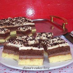 diana's cakes love: Prăjitură cu două blaturi si două creme Romanian Desserts, Romanian Food, Romanian Recipes, Bagel, Sweet Treats, Deserts, Dessert Recipes, Food And Drink, Ice Cream