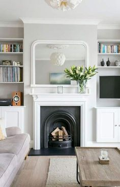 trendy home living room design lounges Living Room Shelves, Living Room With Fireplace, New Living Room, Home And Living, Barn Living, Small Living, Living Room Ideas For Small Spaces, Modern Living, Alcove Ideas Living Room