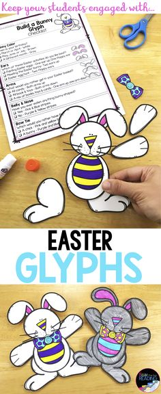 These fun Easter activities are a must have for teaching Easter! writing, glyphs, Easter worksheets and more! These spring printables are also little to no prep! Spring teaching ideas, Spring Printable Worksheets, Spring Craftivities, Easter Printables