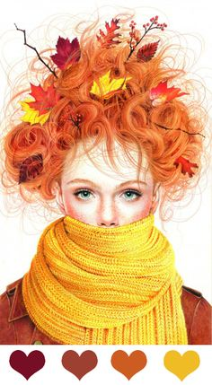 Morgan Davidson: Colored Pencil Season Girls Illustration Series (color id: Pantone, by leaff)