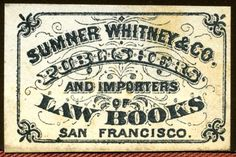 Sumner Whitney & Co.  Publishers and Importers of Law Books