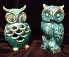 Pair Of Large Aqua Ceramic Owls, One Candle Holder Perfect Condition #PrivilegeInternational