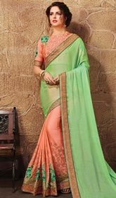 Green and Peach Color Satin Chiffon Half N Half Sari #sareesinonlinepurchase#sareessale Give a unique sheen to your overall appearance with this green and peach color satin chiffon half n half sari. The lace, resham and stones work seems chic and aspiration for any event. Upon request we can make round front/back neck and short 6 inches sleeves regular saree blouse also. USD$ 127(Around £ 88 & Euro 97)