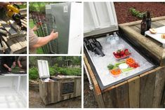 Cómo hacer un refrigerador con una nevera rota y 4 palets Barbacoa, Cafe Bar, Playroom, House Design, Homemade, Sierra Circular, Gardens, Barrel, Wooden Cooler