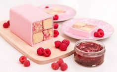 Raspberry Ripple Battenberg Cake by Stork