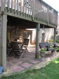WANT THE DECK AND PATIO UNDERNEATH, WITH FIRE PIT AREA AT FAR END AS IN OTHER PIN --Must have a swing under our backyard patio!