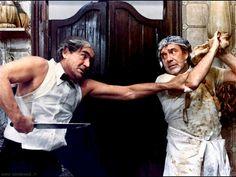 """Vittorio Gassman e Ugo Tognazzi in """"I nuovi mostri"""" (Episodio Hostaria! di Ettore Scola)"""