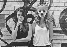 """photo and mask project - 'vulnerability' #photography #masks #blackandwhite #fox #foxmask #urban #graffiti #creepy #art"""