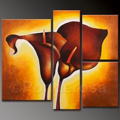 Golden Flower - Direct Art Australia, Price: $367.00, Shipping: Free Shipping, Size of Parts: 30cm x 50cm x 1 panel + 20cm x 70cm x 1 panel + 25cm x 30cm x 2 panels, Total Size (W x H): 100cm x 70cm, Delivery: 14 - 21 Days, Framing: Framed & Ready to Hang! Not a Print - our artists are professionally trained and use the best oil paints. http://www.directartaustralia.com.au/