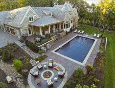 I like shaped pools, but the landscaping, house colors, and layout are all so beautiful!