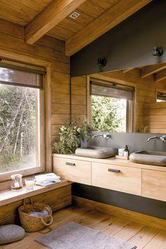 45 Most Popular Bathroom Designs for 2019 – Perfect Home Ideas Cabin Interiors, Dream Bathrooms, Log Cabin Bathrooms, Cabin Kitchens, Beautiful Bathrooms, Cabin Homes, Bathroom Inspiration, Bathroom Ideas, Zen Bathroom Decor