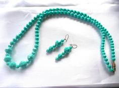 Vintage Turquoise Beads Earring Set  N78 by GraffitiCat, $6.00