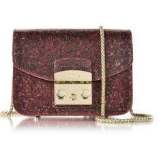 Furla Handbags Glitter Metropolis Mini Crossbody Bag ($325) ❤ liked on Polyvore featuring bags, handbags, shoulder bags, ruby, leather crossbody purses, leather shoulder bag, leather cross body handbags, leather crossbody and red purse