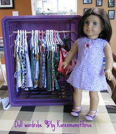 How do you store your American Girl items? You can buy hangers directly from American Girl. Obviously their hangers are made to be appropr. American Girl Crafts, American Doll Clothes, Ag Doll Clothes, Diy Clothes, Clothes Storage, American Dolls, American Girl Storage, Doll Storage, Storage Hacks