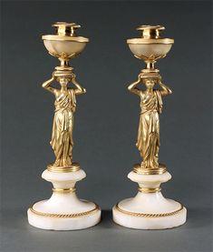 Candelabra, Candlesticks, Neoclassical, Regency, Lamps, Candle Holders, Marble, Bronze, Lightbulbs