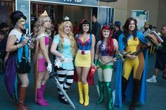 Disney Princess Superheroines  Esmerelda, Aurora, Alice (played by LittleKagsin), Snow White, Ariel (played by, I think, Vampire Kitten), Belle