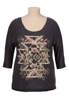 Graphic Geo Print Tee with Studs (original price, $29) available at #Maurices