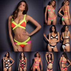 NEW 2015 Summer Women's Swimwear Bikini Sexy Hit Color Bandage Swimsuit Brazilian biquini Colorfull Bathing Suits Wholesale #bikini #swimwear #fashion  Only $7.59