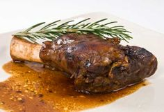 Chef John's recipe for lamb shanks braised in saba (mosto cotto) is a foolproof winter dish that is rich, delicious, and easy to make. You can use aged balsamic vinegar for the saba, too. Chef John Recipes, Lamb Recipes, Meat Recipes, Cooking Recipes, Slow Cooked Lamb Shanks, Braised Lamb Shanks, Lamb Shank Recipe, Winter Dishes, Lamb Dishes