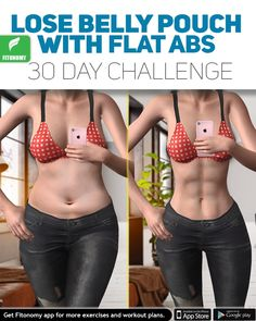 Lose belly pouch with flat abs 30 day challenge.Ditch the pooch! Check out our best exercises to lose belly fat.- Home Squat Guide - Is your goal to lose lower belly fat🍑? You can do it in less than 30 day with Fitonomy Six Pack Challenge get the Fitness Workouts, Sport Fitness, Body Fitness, At Home Workouts, Fitness App, Cardio Workouts, Health Fitness, Belly Fat Workout, Butt Workout