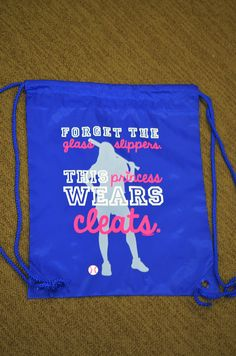 Forget the glass slippers, this princess wears cleats! Our awesome cinch sack bags are great for carrying all of your small softball equipment! Makes a great softball gift for any busy player. Softball Party, Softball Bags, Softball Coach, Softball Gifts, Softball Players, Baseball Bags, Softball Stuff, Baseball Party, Air Max Classic