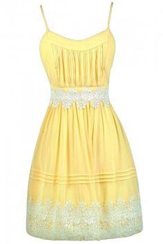 Cute Yellow Dress, Yellow and Off White Dress, Yellow Party Dress, Yellow Sundress, Yellow A-Line Dress, Cute Yellow Dress