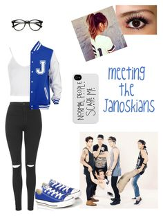 """The janoskians"" by cheyennevdh ❤ liked on Polyvore featuring Topshop and Converse"