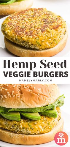 You know hemp seeds are so healthy, but how do you add them to your diet? Make these hemp seed burgers. Serve these flavorful burgers with avocado slices and your favorite burger toppings! #hempburger #veganburgers #namelymarly Best Vegetarian Sandwiches, Vegan Sandwich Recipes, Best Vegan Recipes, Vegan Dinner Recipes, Veg Recipes, Burger Recipes, Vegetarian Recipes, Healthy Recipes, Vegan Blogs
