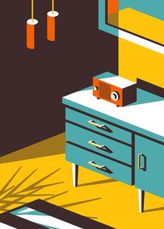 L'illustrateur américain Jeremy Booth a créé cette série d'illustrations qui montrent les objets et l'architecture iconiques des années 50 et 60.