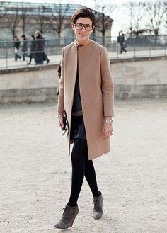 collarless camel coat..