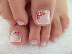 Resultado de imagem para unhas do pé decoradas francesinha Pedicure Designs, Pedicure Nail Art, Toe Nail Designs, Nail Polish Designs, Toe Nail Art, Perfect Nails, Gorgeous Nails, Pretty Nails, Pretty Pedicures