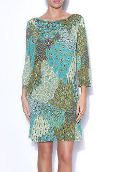Teal Peacock Dress - main