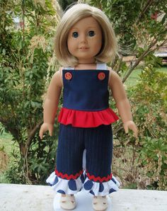 American Girl Doll Clothes Top Ruffle Capris by SewSoNancy on Etsy, $15.00