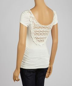 Look at this #zulilyfind! White Lace-Back Ruched Maternity Short-Sleeve Tee by Anticipation #zulilyfinds