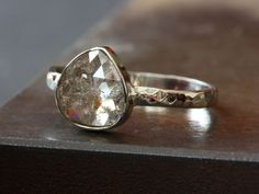 One of a Kind Silvery Champagne Rose Cut Diamond Stacking Ring in 14kt White Gold-i love the unique