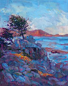Erin Hanson ~ Pebble Beach -- coastal landscape painting by modern impressionist Erin Hanson. Erin Hanson, Modern Impressionism, Impressionist Art, Abstract Landscape, Landscape Paintings, Landscapes, Ocean Art, Painting Inspiration, Fine Art
