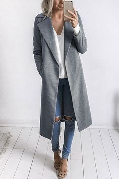 Fashion Long Sleeves Causal Outerwear in Grey - US$37.95 -YOINS