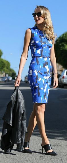 abstract cobalt blue, black and white print neoprene scuba crop top, coordinating pencil skirt, backless mule pointed toe pumps + leather jacket